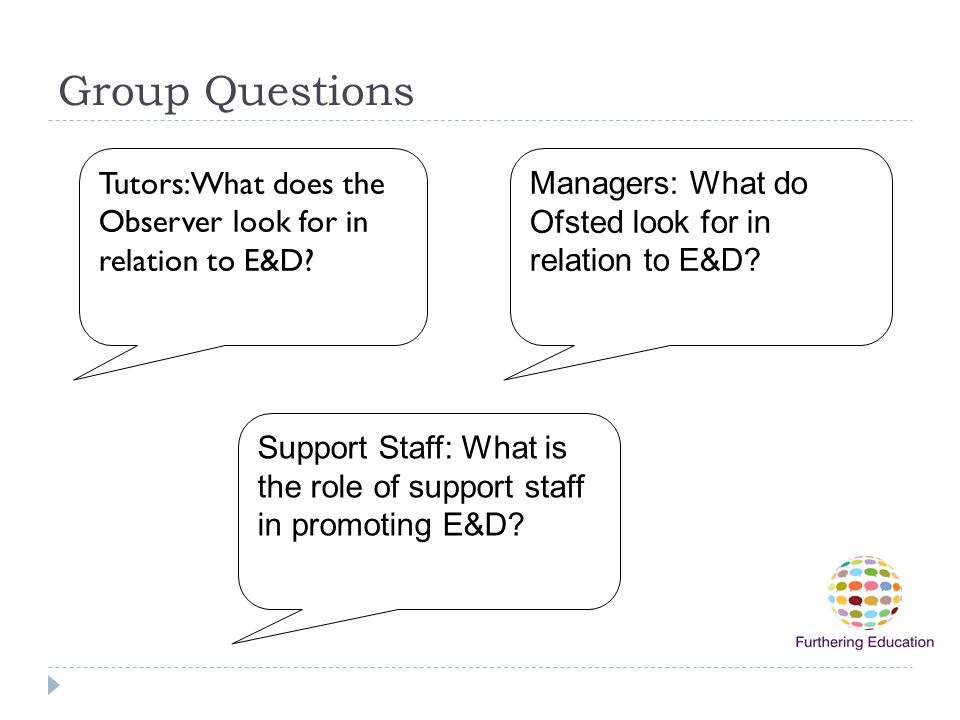 Group Questions Tutors:What does the Observer look for in relation to E&D Managers: What do Ofsted look for in relation to E&D