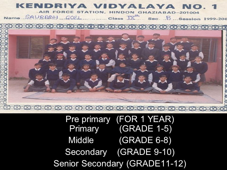 Pre primary (FOR 1 YEAR) Primary (GRADE 1-5) Middle (GRADE 6-8)