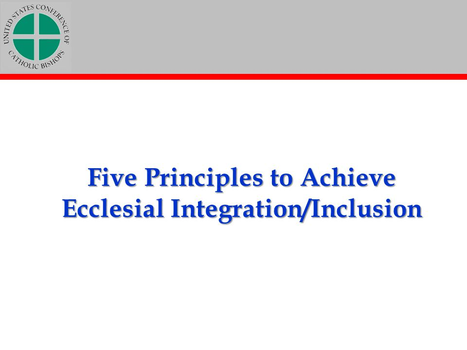 Five Principles to Achieve Ecclesial Integration/Inclusion