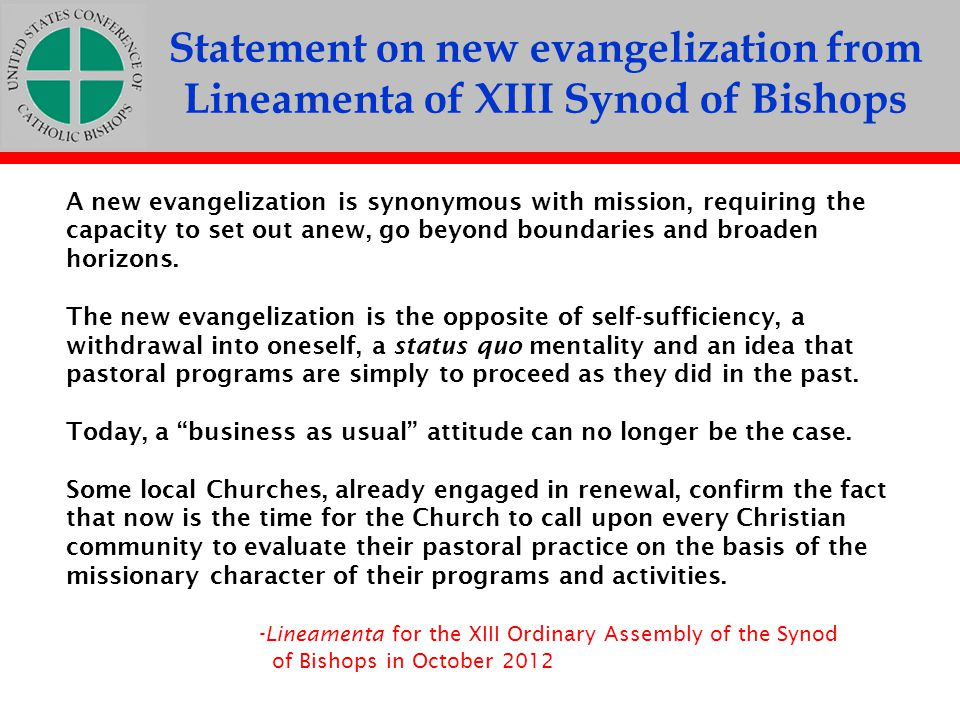 Statement on new evangelization from Lineamenta of XIII Synod of Bishops