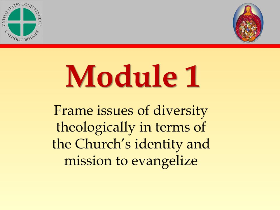 Module 1 Frame issues of diversity theologically in terms of the Church's identity and mission to evangelize.
