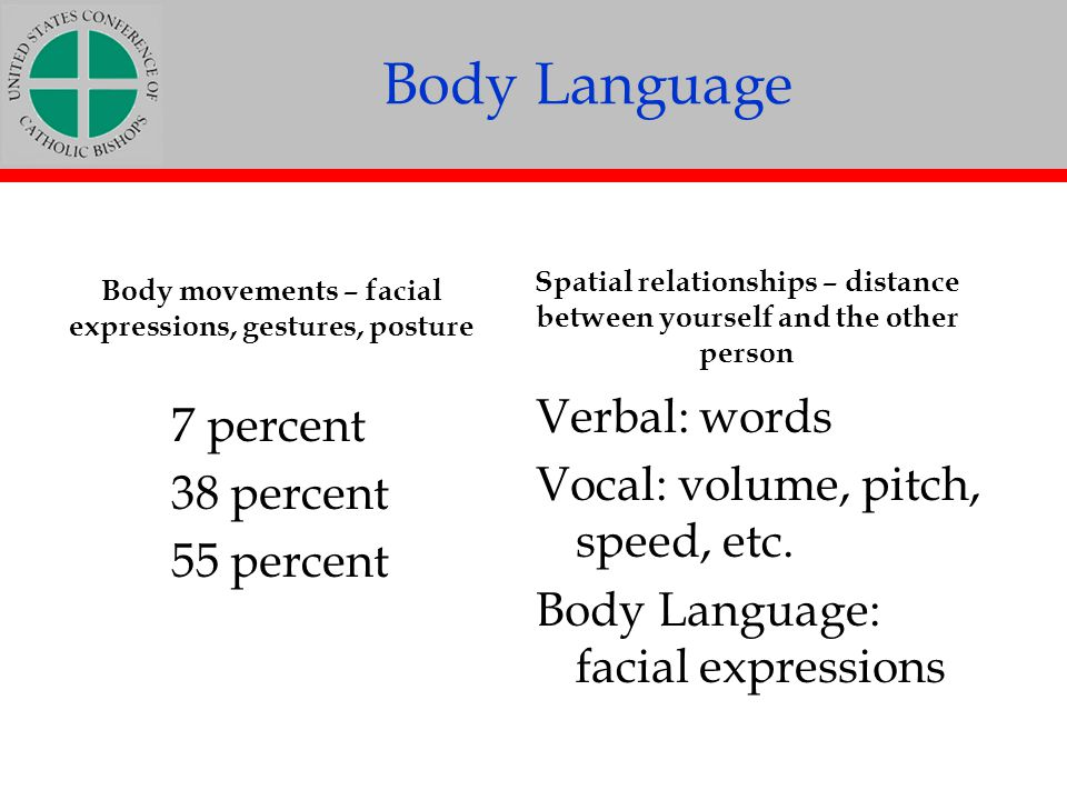 Body Language Verbal: words 7 percent