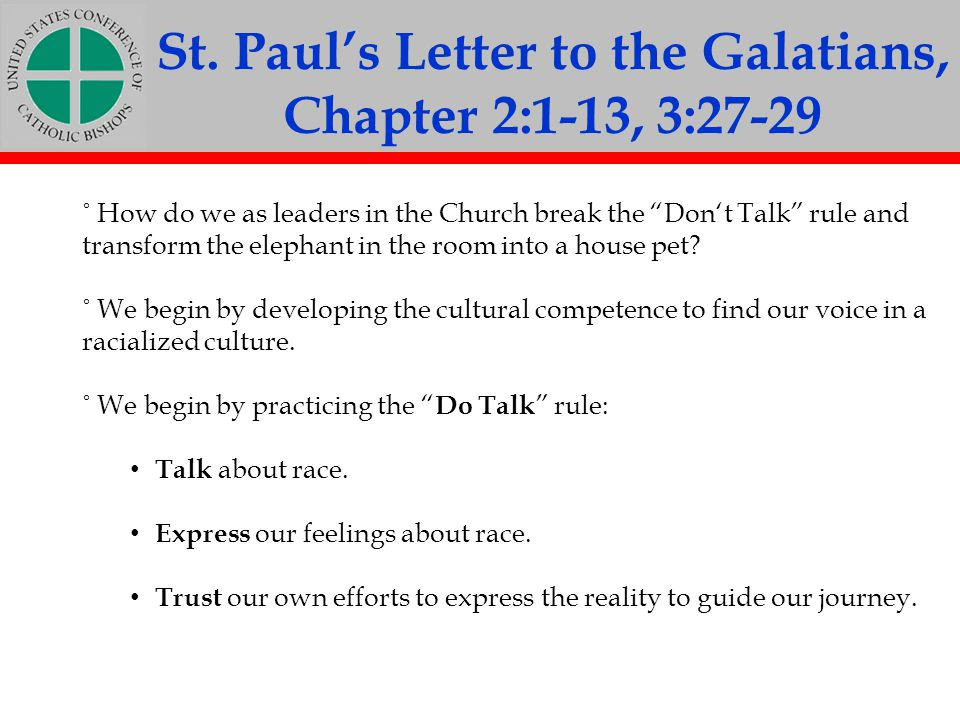 St. Paul's Letter to the Galatians, Chapter 2:1-13, 3:27-29