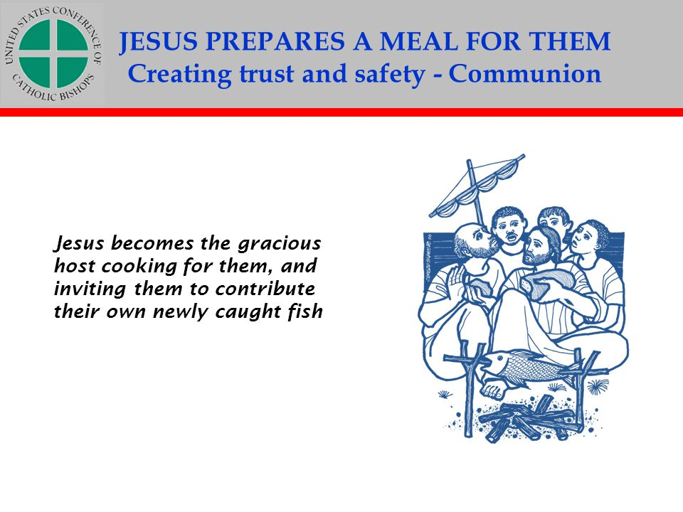 JESUS PREPARES A MEAL FOR THEM Creating trust and safety - Communion