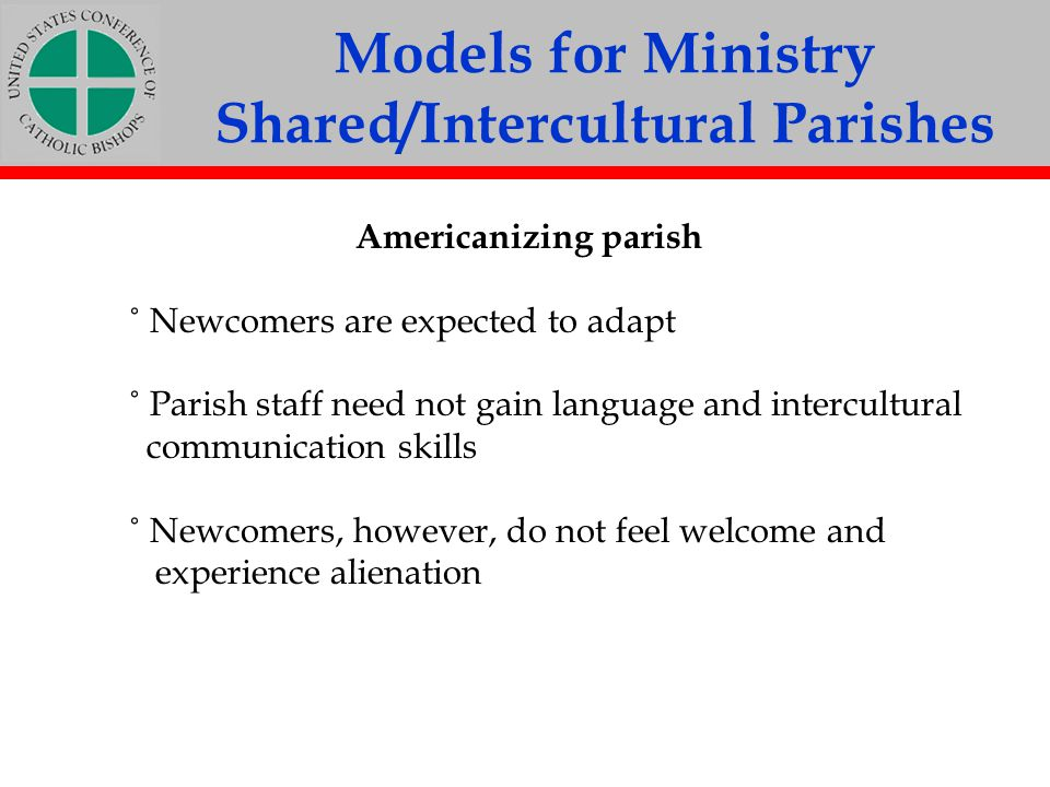 Models for Ministry Shared/Intercultural Parishes