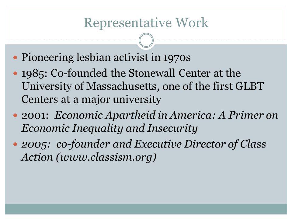 Representative Work Pioneering lesbian activist in 1970s