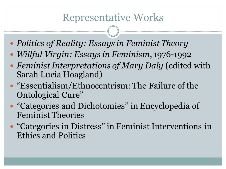 non essentialism in feminist ethics In ethics classical and non-competitiveness, etc feminist theorist elizabeth grosz states in her 1995 non-essentialism might also be defined cataphatically.