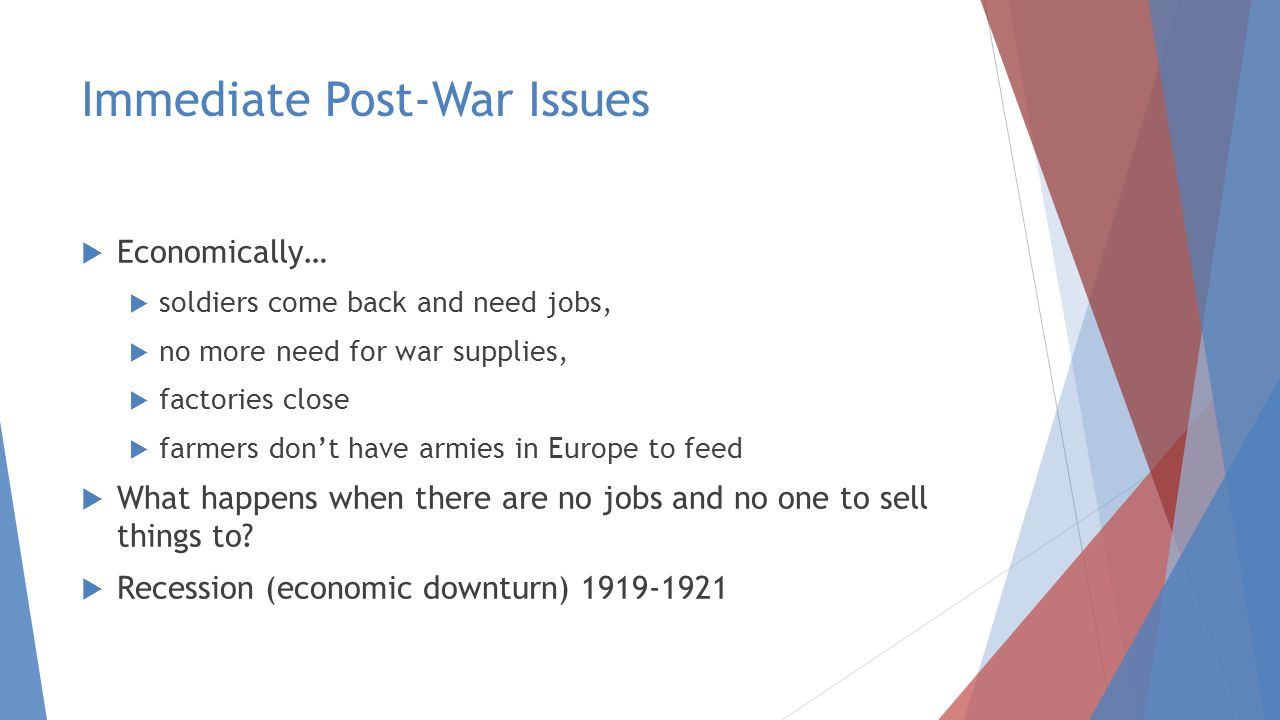 Immediate Post-War Issues