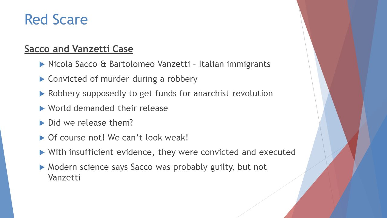 Red Scare Sacco and Vanzetti Case