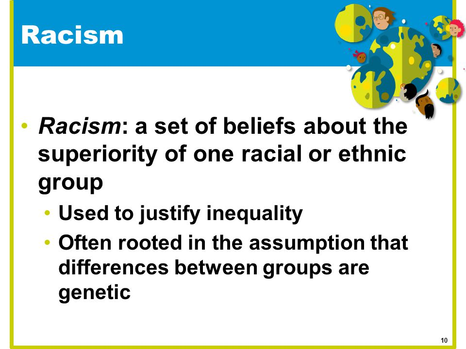 Racism Racism: a set of beliefs about the superiority of one racial or ethnic group. Used to justify inequality.