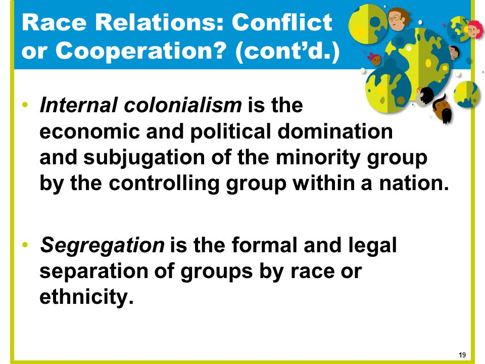 Race Relations: Conflict or Cooperation (cont'd.)