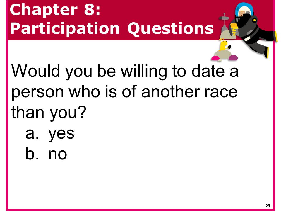 Would you be willing to date a person who is of another race than you