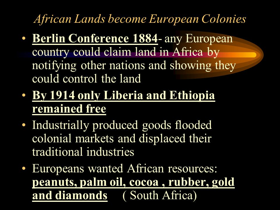 African Lands become European Colonies