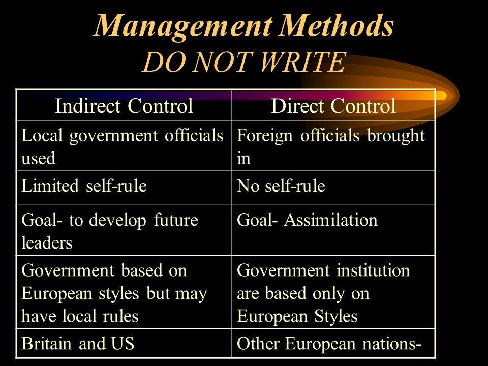 Management Methods DO NOT WRITE