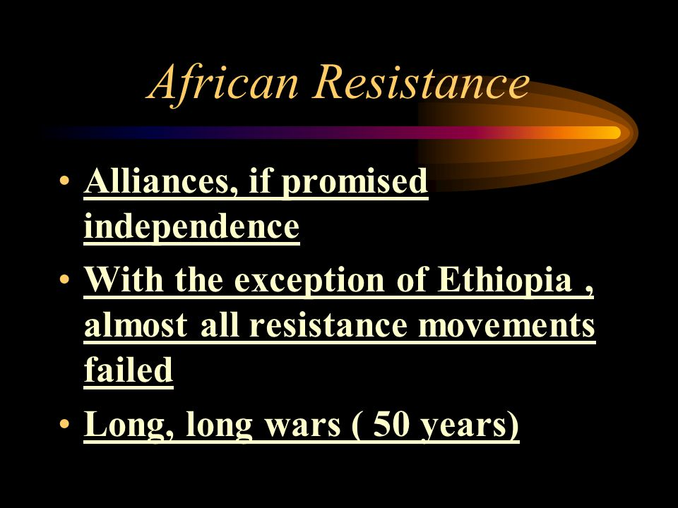 African Resistance Alliances, if promised independence