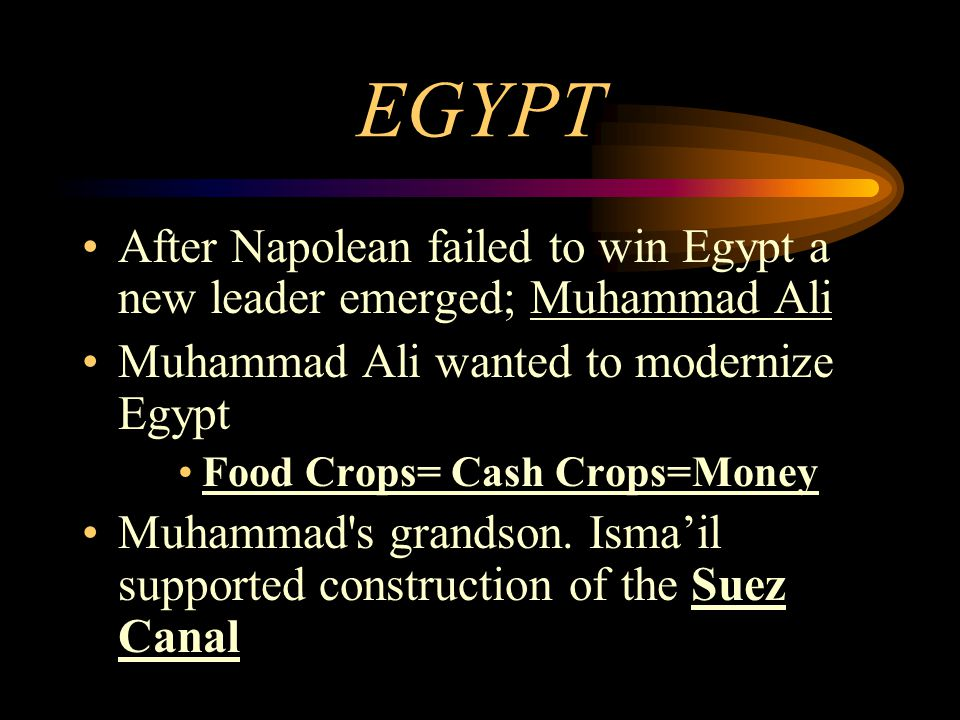EGYPT After Napolean failed to win Egypt a new leader emerged; Muhammad Ali. Muhammad Ali wanted to modernize Egypt.