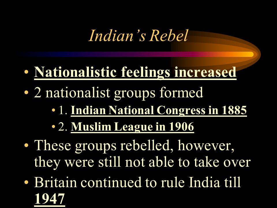 Indian's Rebel Nationalistic feelings increased