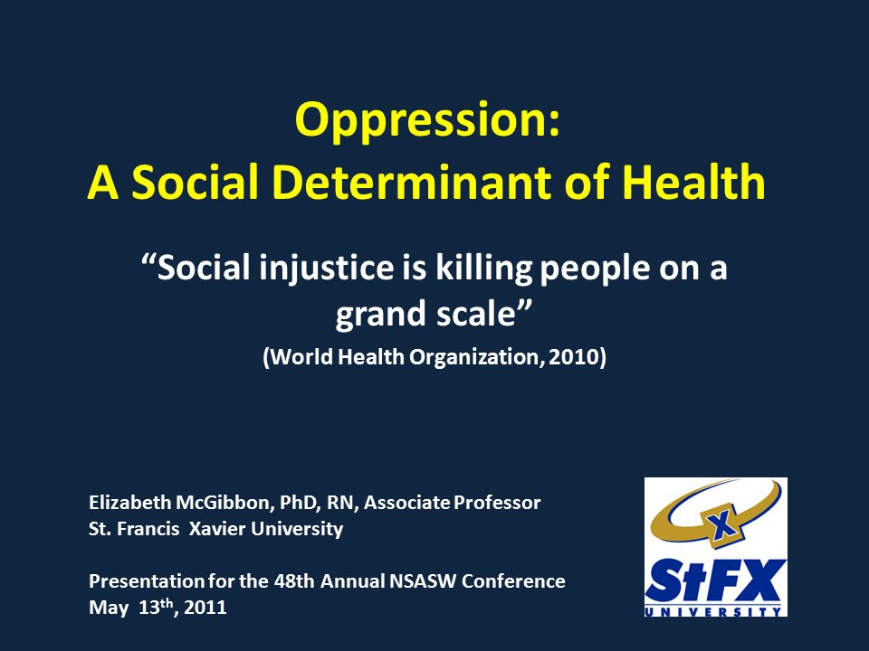Oppression: A Social Determinant of Health