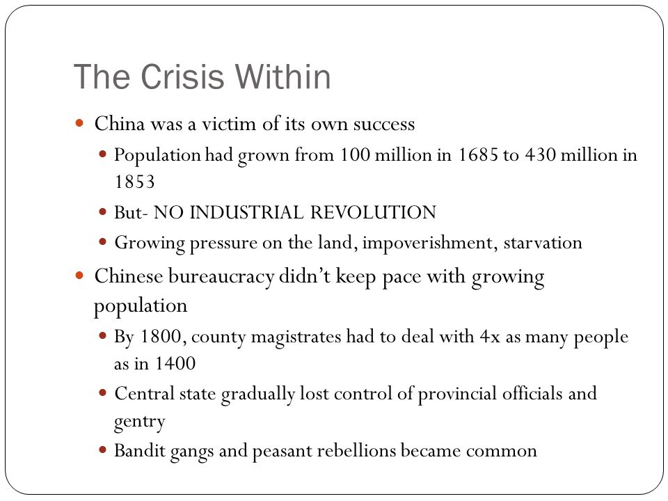 The Crisis Within China was a victim of its own success