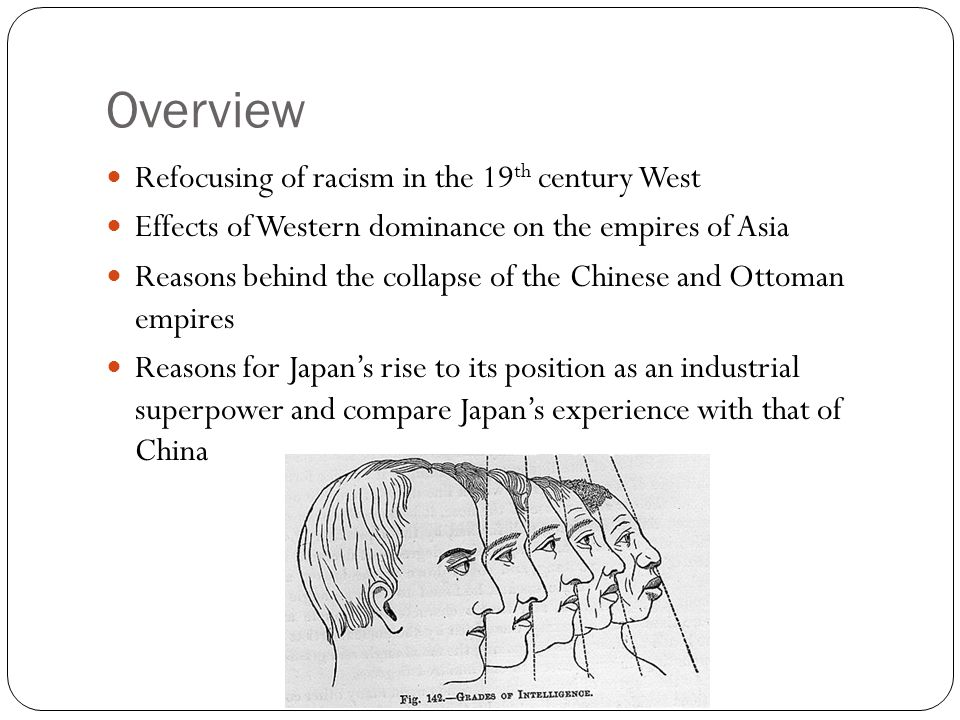 Overview Refocusing of racism in the 19th century West
