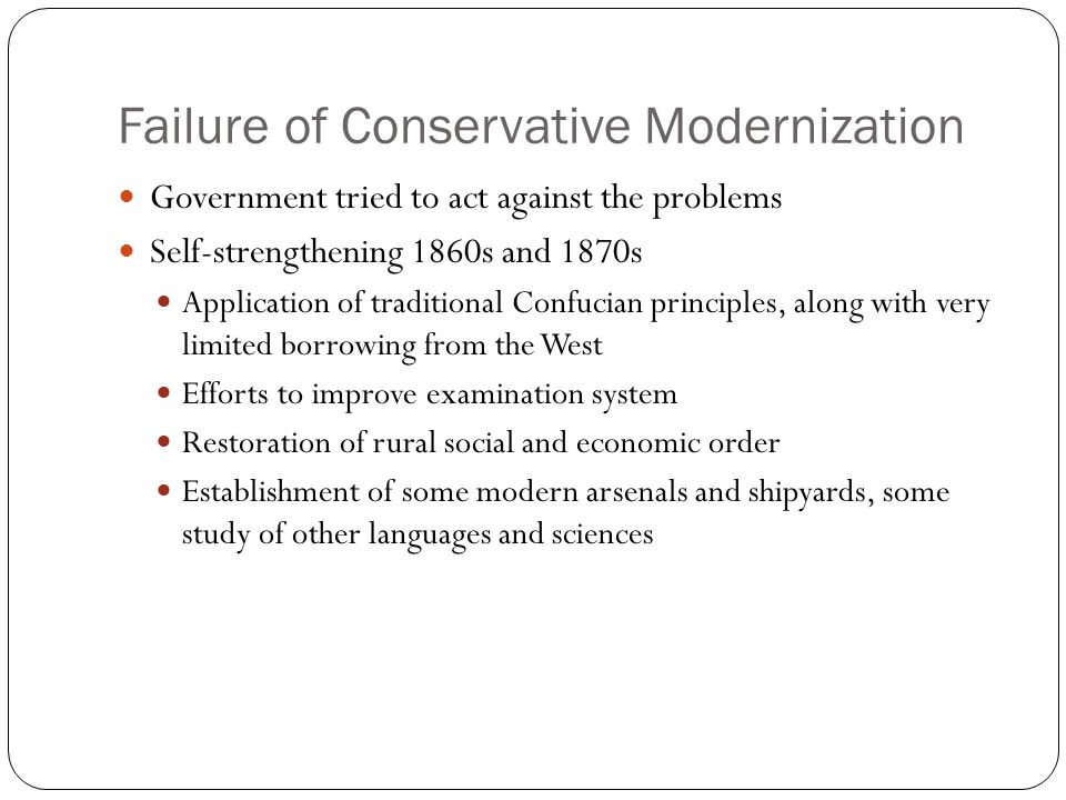 Failure of Conservative Modernization