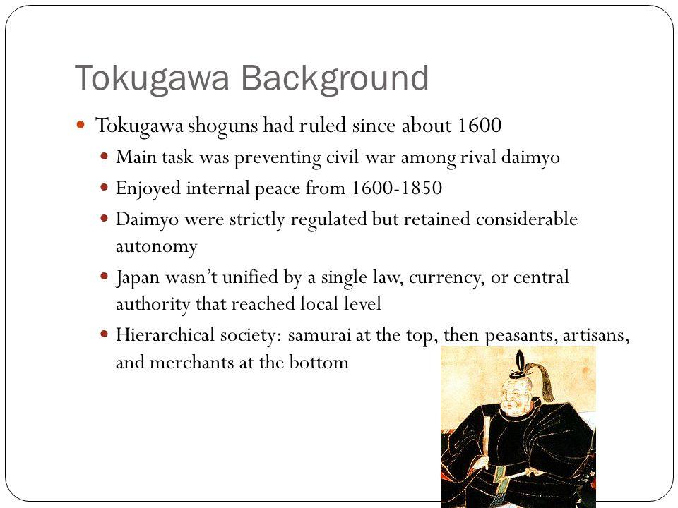 Tokugawa Background Tokugawa shoguns had ruled since about 1600