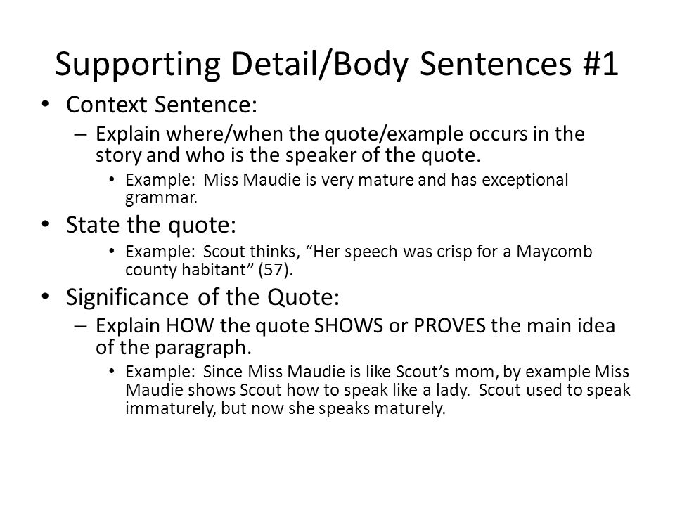 Supporting Detail/Body Sentences #1