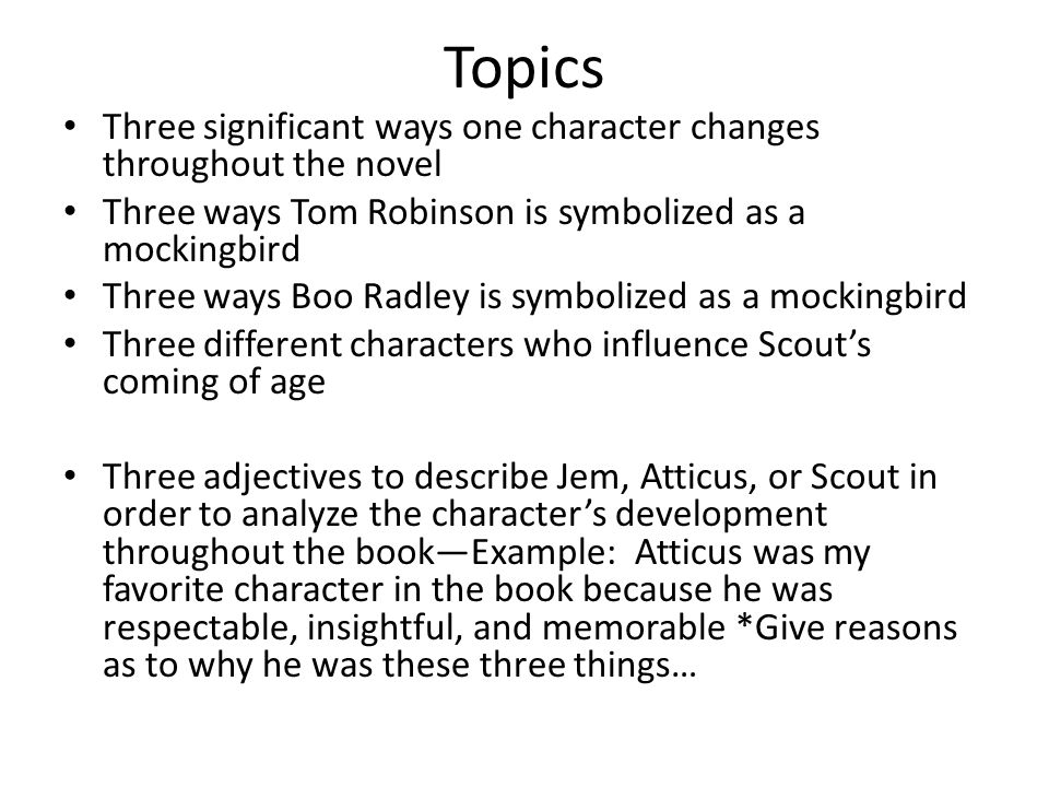 character essays for to kill a mockingbird Home → sparknotes → literature study guides → to kill a mockingbird → study questions to kill  character list  to kill a mockingbird explores the.