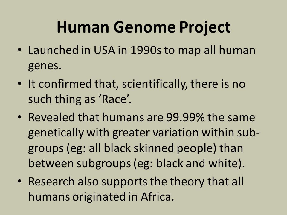Human Genome Project Launched in USA in 1990s to map all human genes.