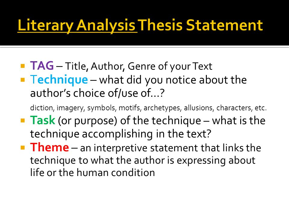 literary analysis thesis Literary analysis sample paper a literary analysis is an argumentative analysis about a literary work although some summary is needed within the argument of a.