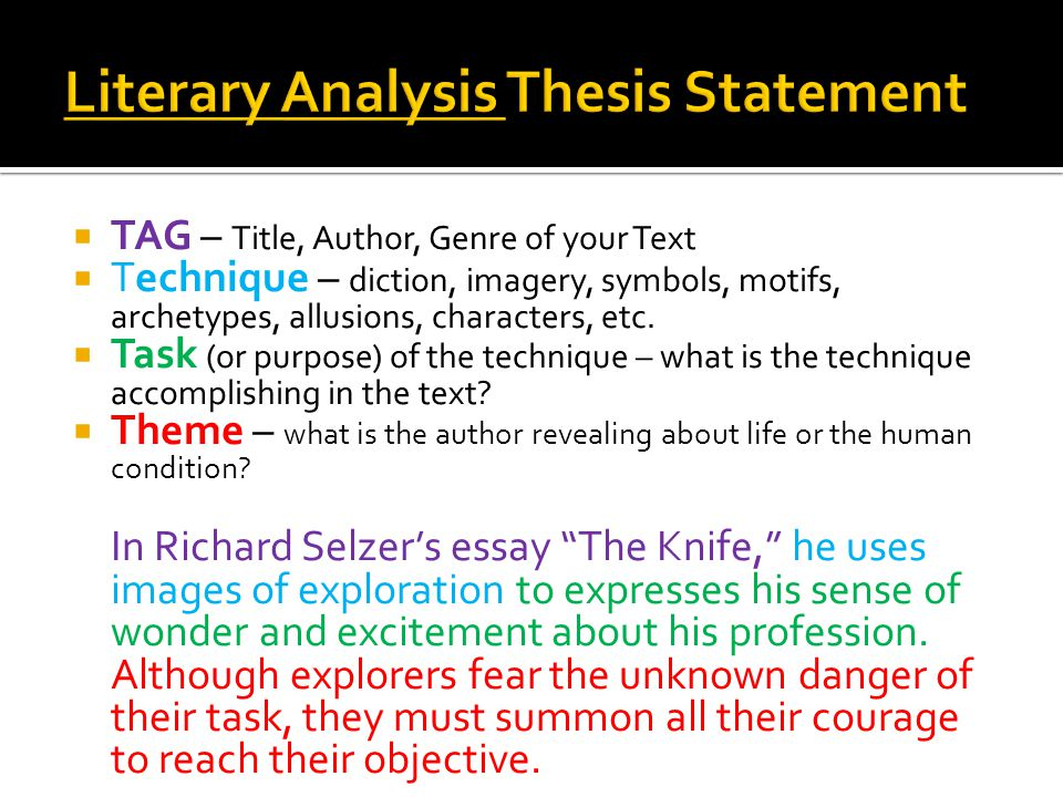 developing thesis statements literary analysis Thesis statements types of essays  literary analysis: using elements of literature  you can develop an argument based on any single term.