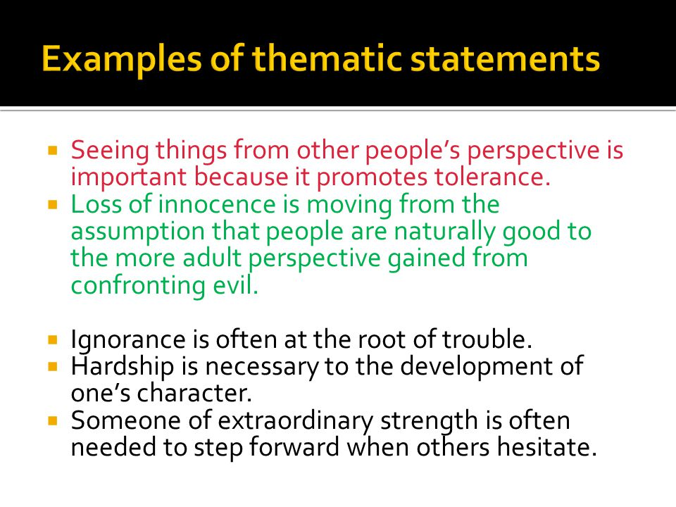 Thematic thesis statement