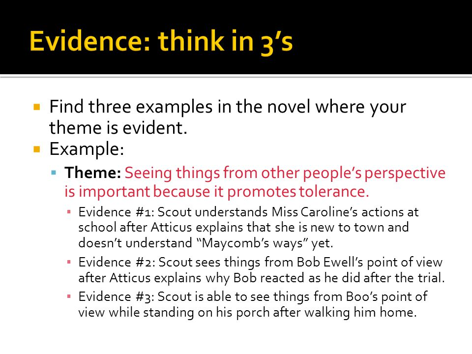 Evidence: think in 3's Find three examples in the novel where your theme is evident. Example: