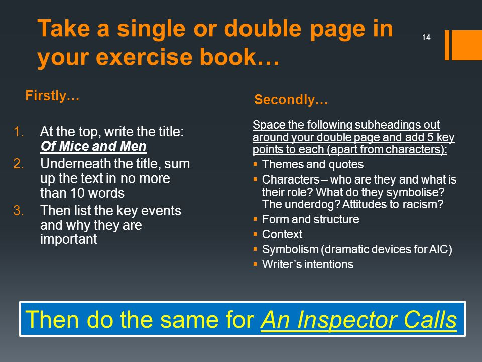 Take a single or double page in your exercise book…