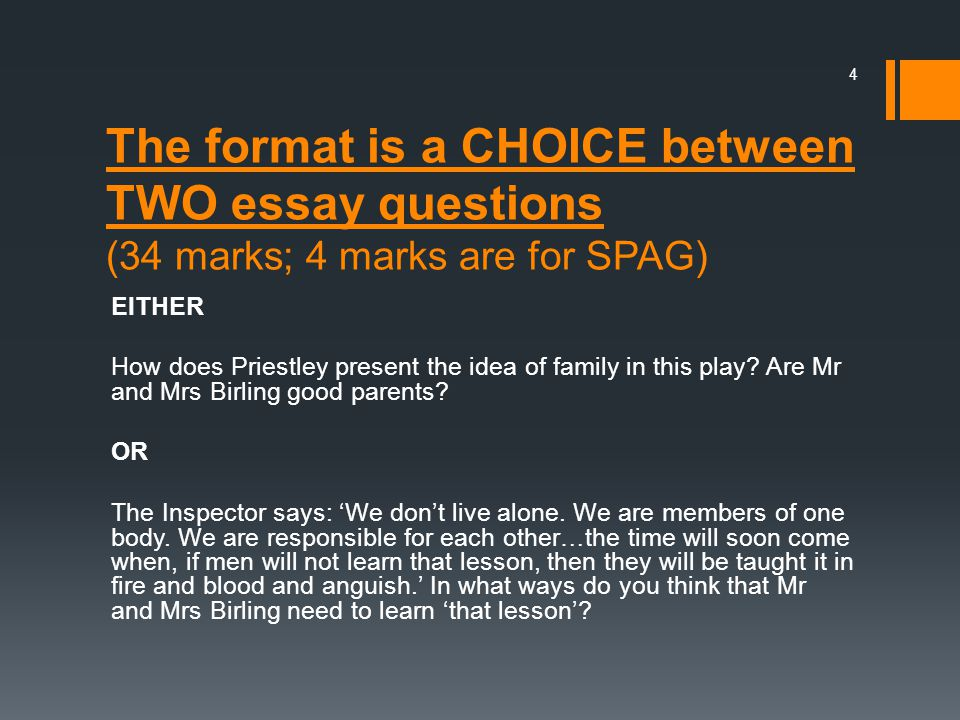 The format is a CHOICE between TWO essay questions (34 marks; 4 marks are for SPAG)