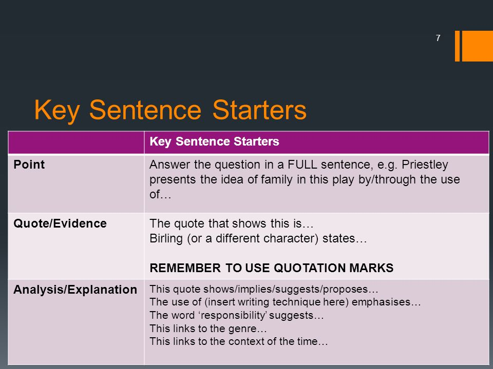 Key Sentence Starters Key Sentence Starters Point
