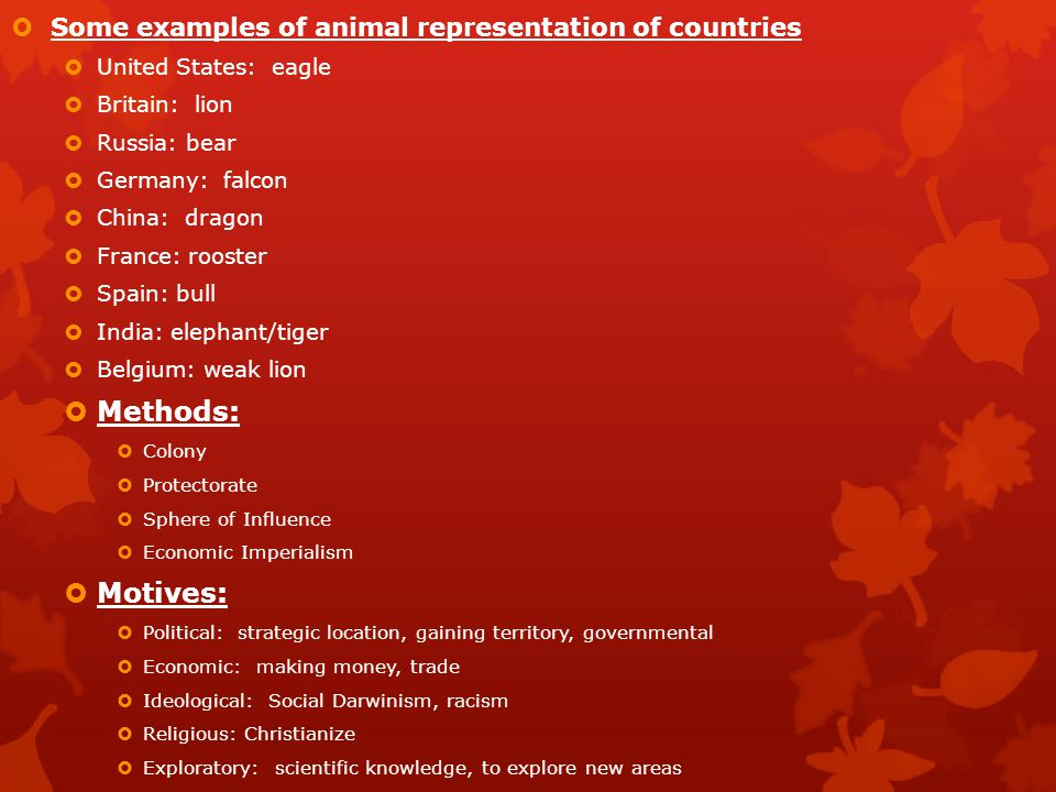Methods: Motives: Some examples of animal representation of countries