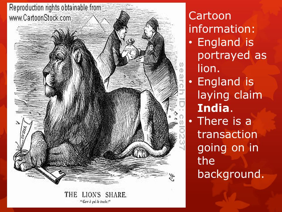Cartoon information: England is portrayed as lion.