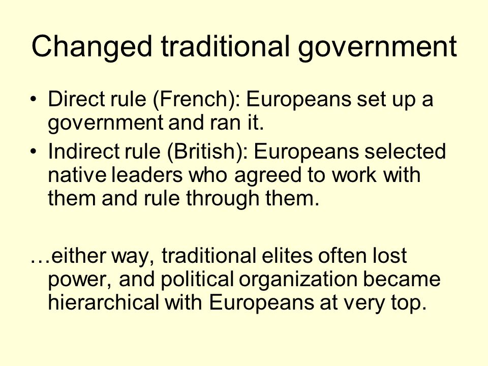 Changed traditional government
