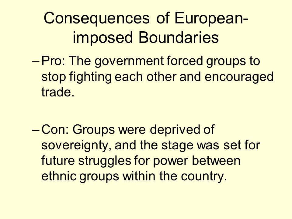Consequences of European-imposed Boundaries