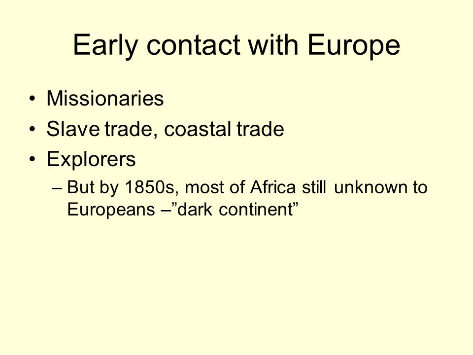 Early contact with Europe