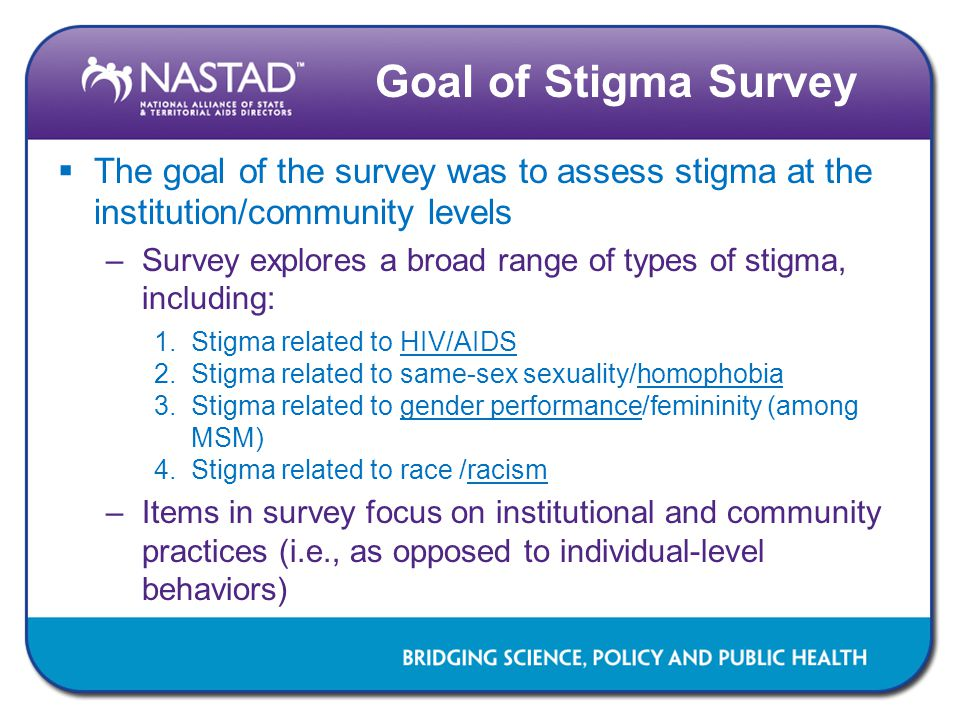Goal of Stigma Survey The goal of the survey was to assess stigma at the institution/community levels.