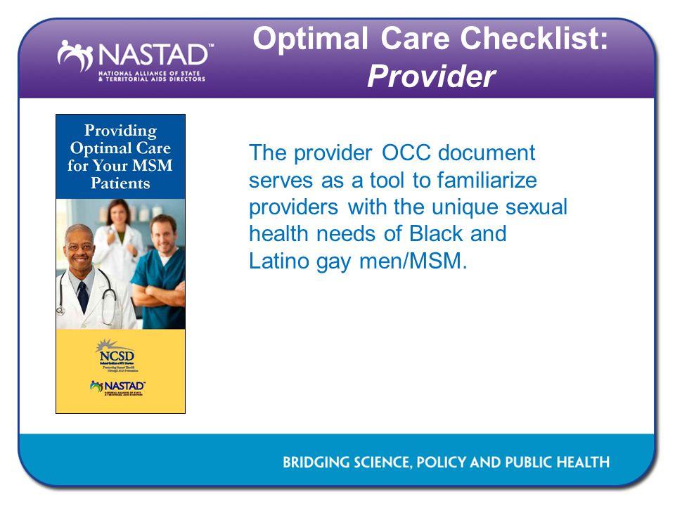 Optimal Care Checklist: Provider