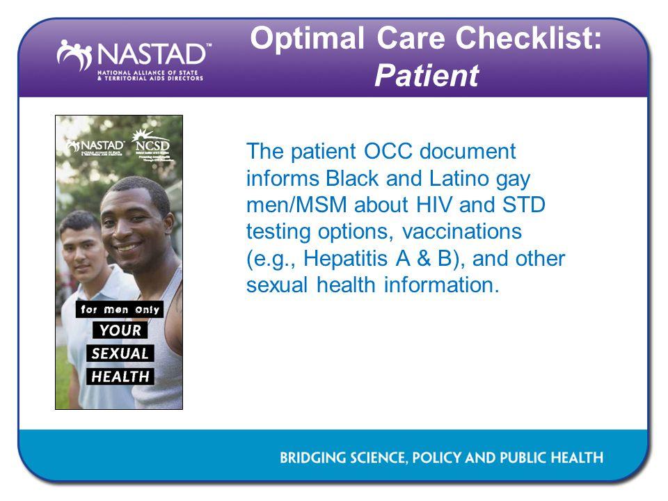 Optimal Care Checklist: Patient