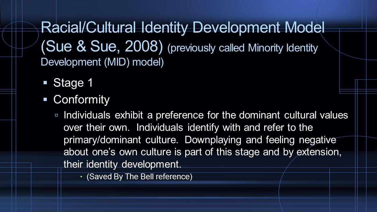 Racial/Cultural Identity Development Model (Sue & Sue, 2008) (previously called Minority Identity Development (MID) model)