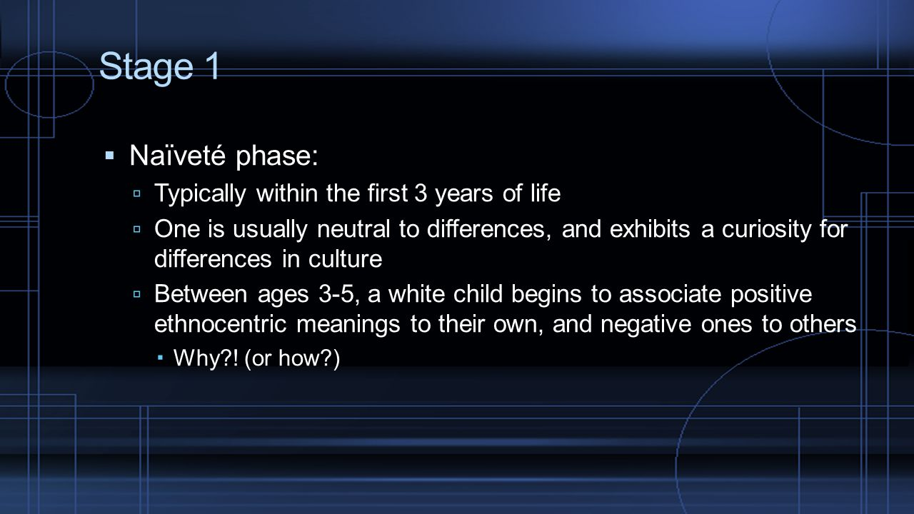 Stage 1 Naïveté phase: Typically within the first 3 years of life