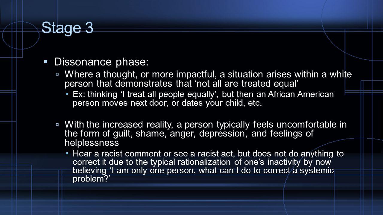 Stage 3 Dissonance phase: