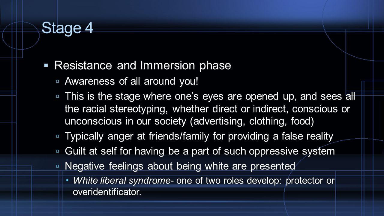 Stage 4 Resistance and Immersion phase Awareness of all around you!