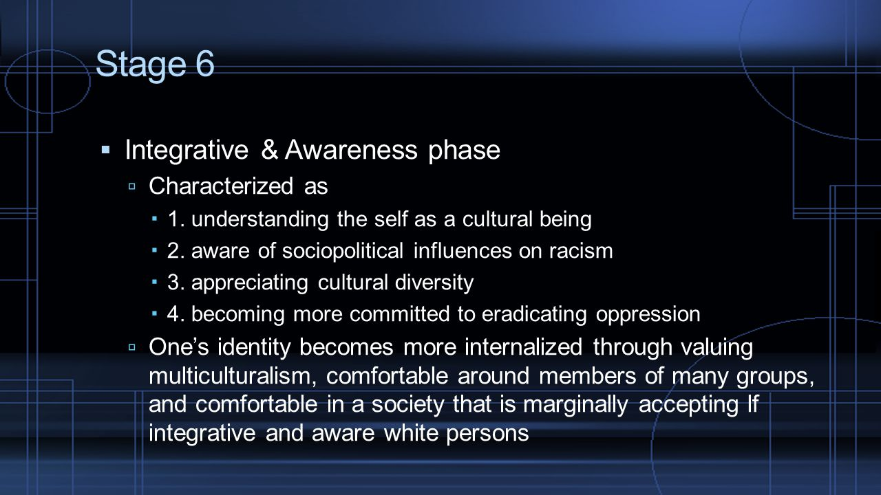 Stage 6 Integrative & Awareness phase Characterized as