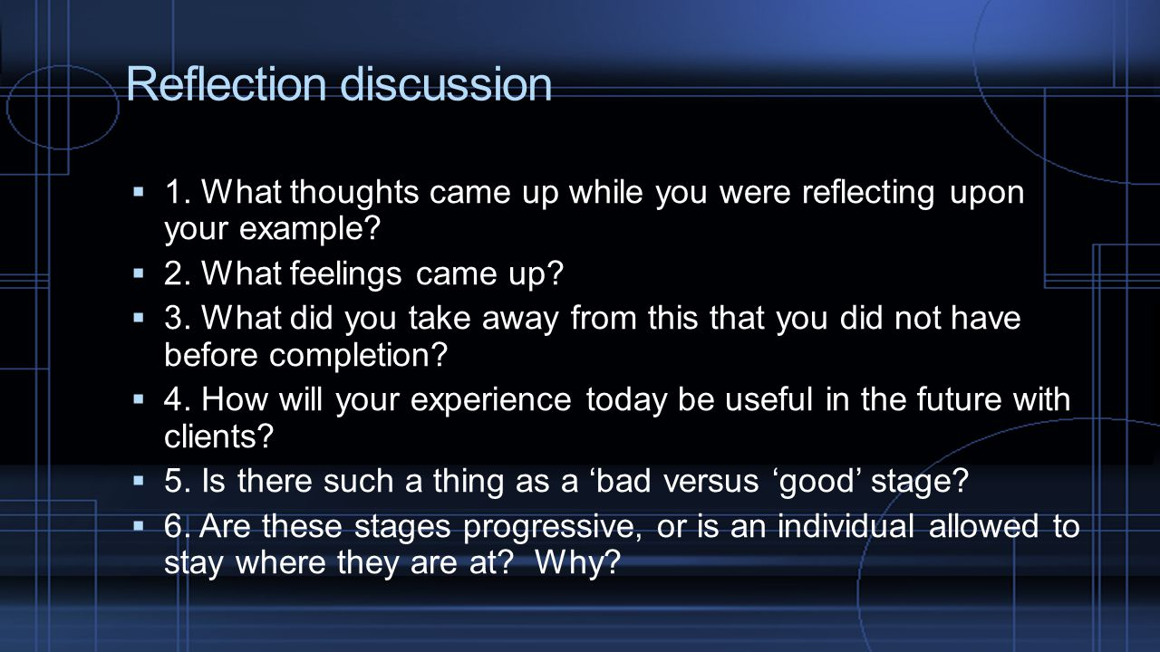 Reflection discussion
